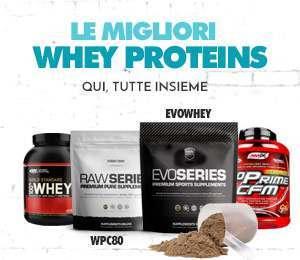 Le Migliori Whey Proteins qui riunite tutte insieme